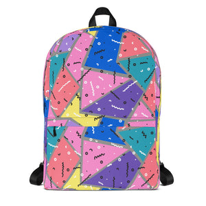 90s Squiggles and Triangles Pattern Backpack