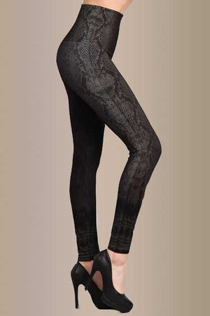 B4292C High Waist Full Length Snake Skin Leggings