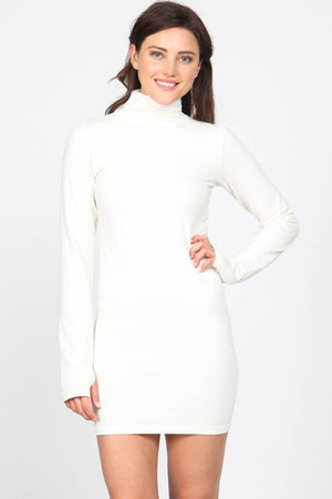 S3333 Mock Neck Dress with Thumb Holes