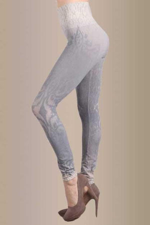 B2361USAL Blue Grey Burnout Swirl Leggings