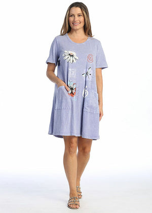 Spirals Periwinkle Short Sleeve Dress with Pockets