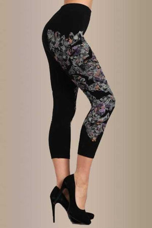 B2395 Capri/Short Flower Petal Mix Leggings