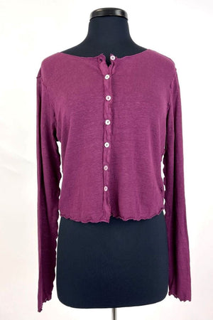 Crop Cardigan with Buttons and Lettuce Edging - Radish