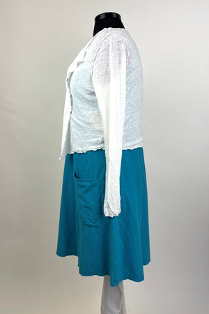 Crop Cardigan with Buttons and Lettuce Edging - White