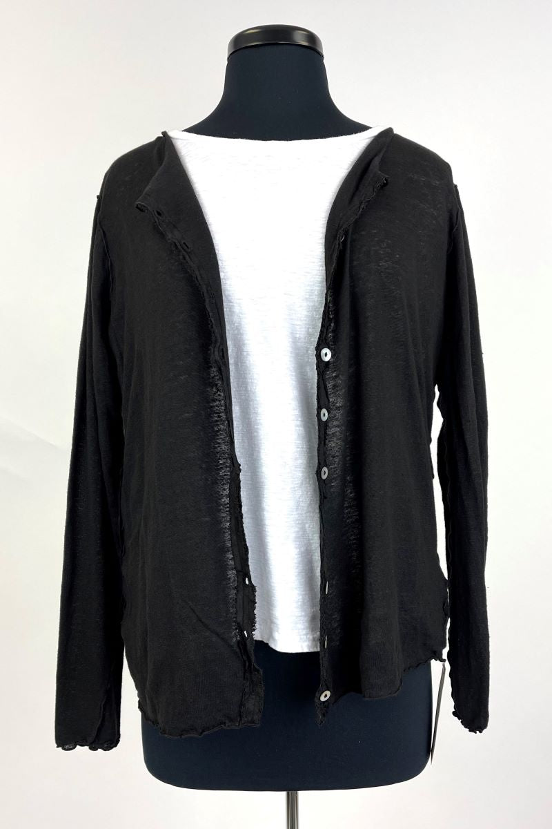 Button Down Long Sleeve Cardigan - Black