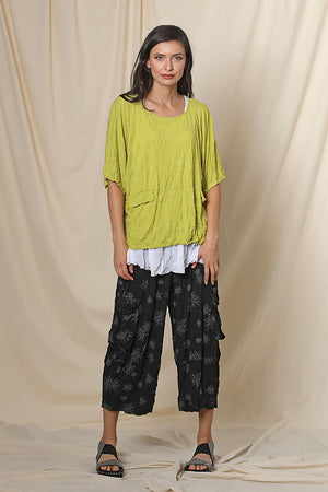 Hallie Cropped Crinkle Pant with Pockets