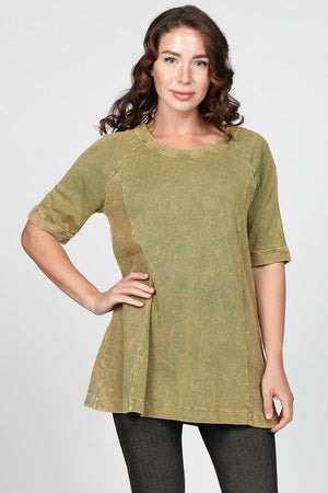 S4887A Mineral Washed Tunic with French Terry Contrast
