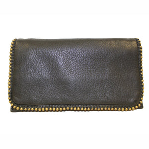 Naomi Leather Flapover Wallet with Decorative Edging