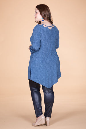 Asymmetrical Blue Denim Tunic.  ONLINE ONLY