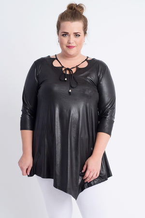 Asymmectrical Black Leather Look Tunic.  ONLINE ONLY