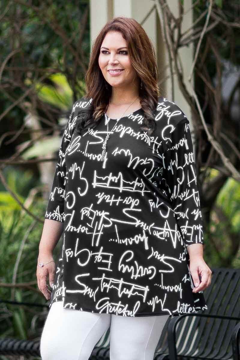 Simple Tunic - Black and White Writing Print ONLINE ONLY
