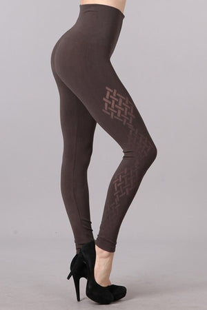 B2361USAP  High Waisted Legging with Weaves Burnout Design