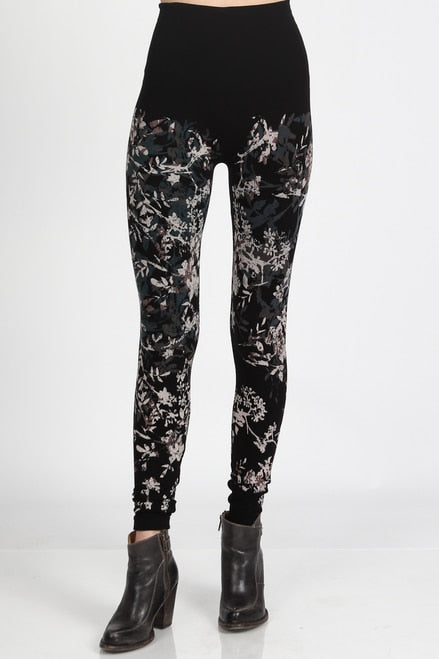B2361USBX High Waisted Legging w/Floral Medley Print