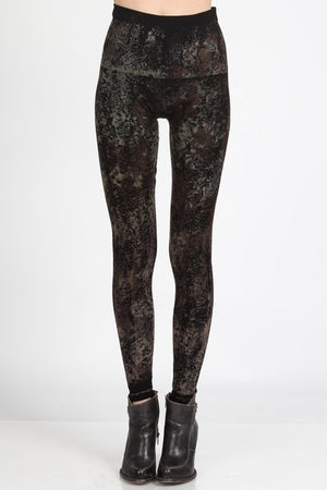 B2361USBY High Waisted Legging w/Tie-Dye Floral Print