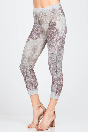 B2370CG M.Rena High Waist Cropped Legging w/ Paisley Coral Array