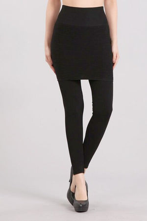 B4185 High Waist Band Full Length Leggings with Ribbed Skirt