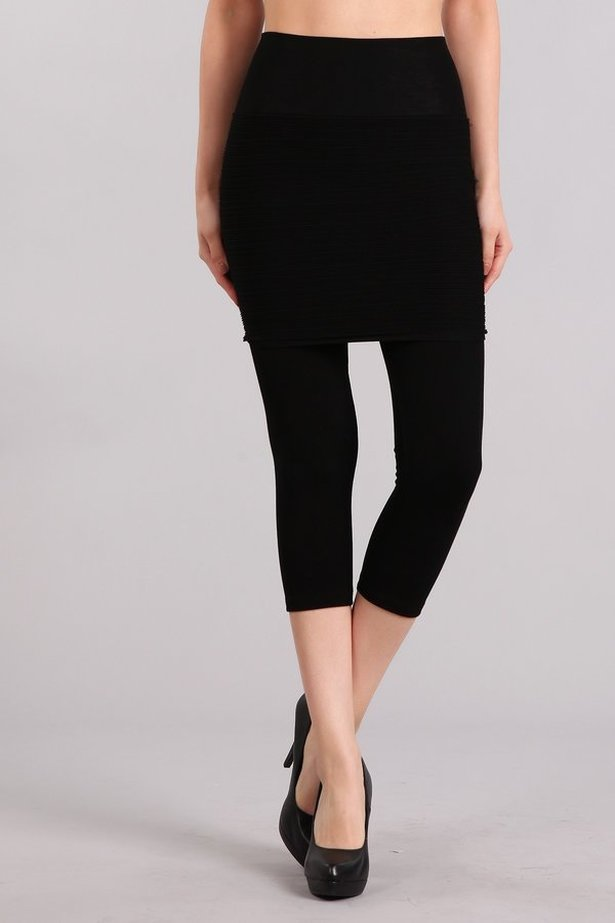 B4186 High Waist Crop Legging with Ribbed Skirt