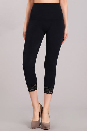 B4198 CONTROL Cropped Leggings w/ Lace Trim