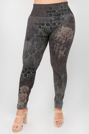 B4222XLAE Extended Size High Waist Leggings with Verona Print Blue Night