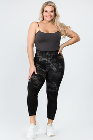 B4223XLA Cami/Short High Waste Crop Legging Ombre Distressed Camo