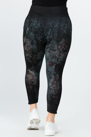 B4223XLE Capri/Short High Waist Crop Legging All in Bloom