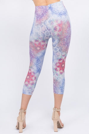 B4281A High Waist Crop Legging with Kaleidoscope Print