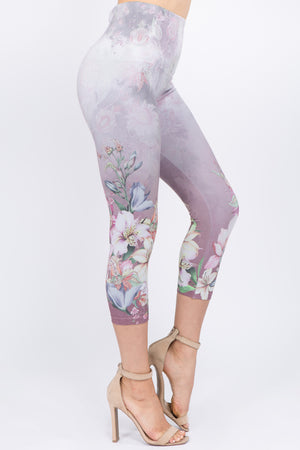 B4291C Capri/Short High waist Leggings with Orchid Paisley Sublimation Print