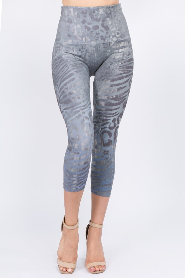 B4291F Capri/Short High Waist Leggings with Wild Safari Sublimation Print