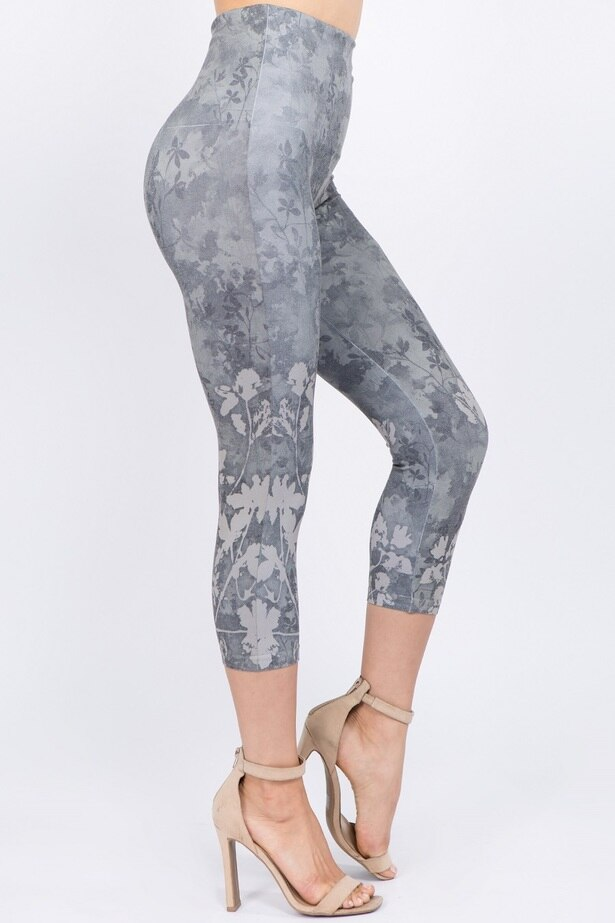 B4291H Capri/Short High Waist Leggings with Pressed Flowers Sublimation Print