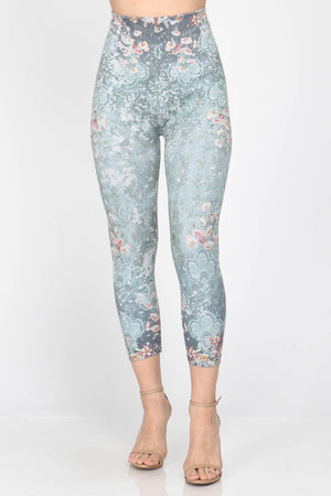 B4291N Capri/Short High waist Leggings with Lily Pad Floral Sublimation Print