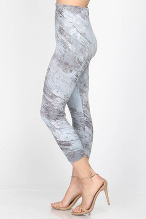 B4291S Capri/Short High Waist Leggings with Light Stone Flowers Sublimation Print