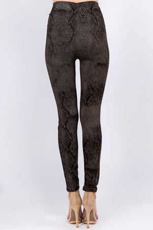 B4292AS High Waist Full Length Legging - Dark Taupe