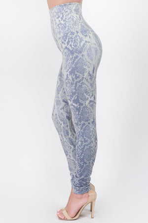 B4292AX High Waist Full Length Legging Snakeskin Print