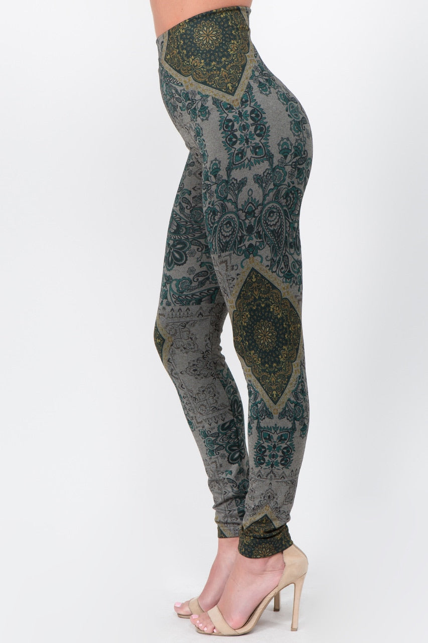 B4292AZ High Waist Full Length Legging Tiled Paisley