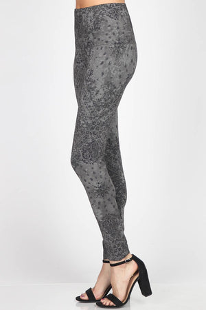 B4292BB High Waist Full Length Legging - Grey