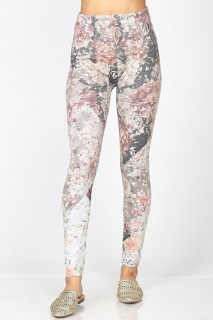 B4292BN High Waist Full Length Legging Quilted Floral Print