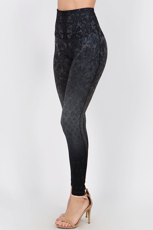 B4292B M.Rena High Waist Full Length Legging with Ombre Ikat