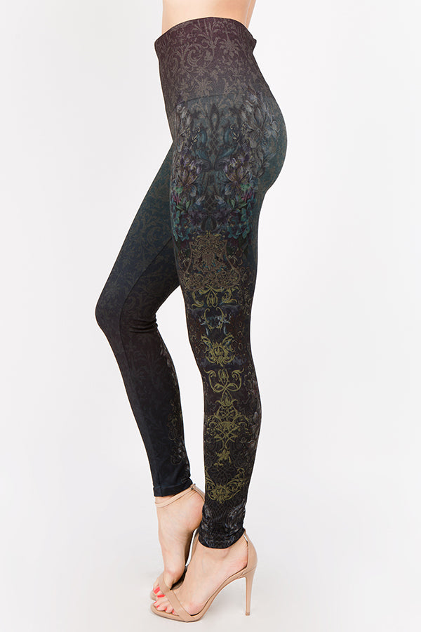 B4292F M.Rena High Waist Full Length Legging w/ Pacific Mystique