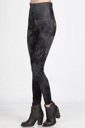 B4222XLQ High Waist Full Length Legging with Aquarelle Flora Print