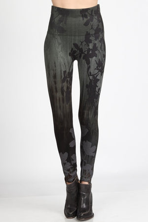 B4292R High Waist Full Length Legging Floral Silhouette