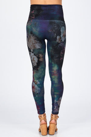 B4222XLU Plus Size High Waist Full Length Legging Aquarelle Flora