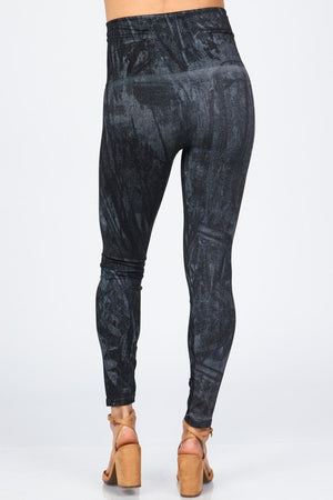 B4292V High Waist Full Length Legging Acid Wash Denim