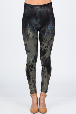 B4292Y High Waist Full Length Legging Rustic Acid Wash