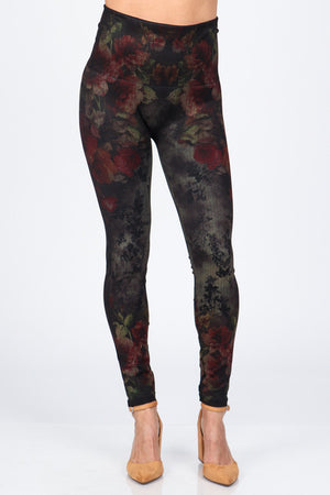 B4222XLZ Extended High Waist Full Length Leggings Aquarelle Flora Print