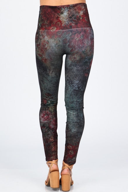 B4342H High Waist Full Length Denim Legging with Virginia Print