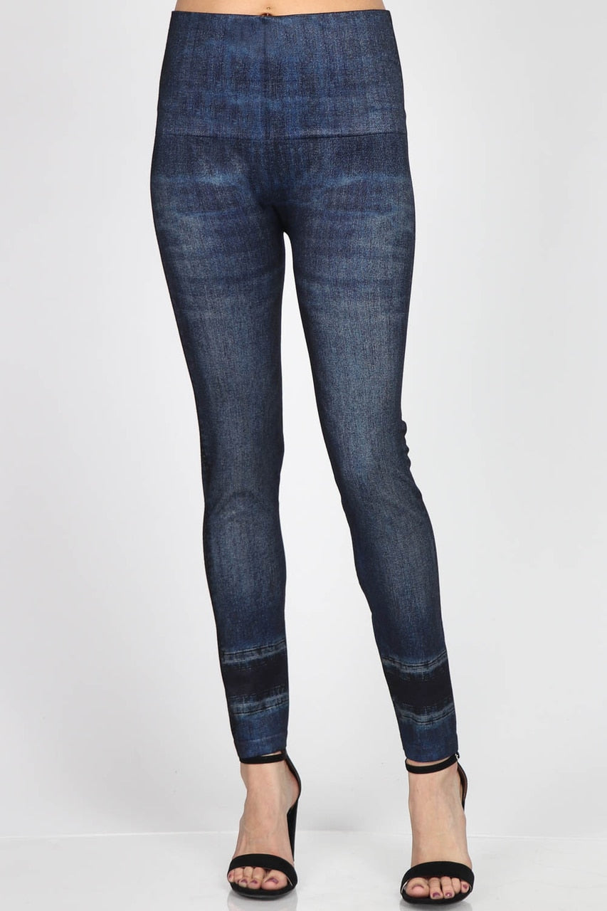 B4342KDENIM High Waist Full Length Legging - Indigo