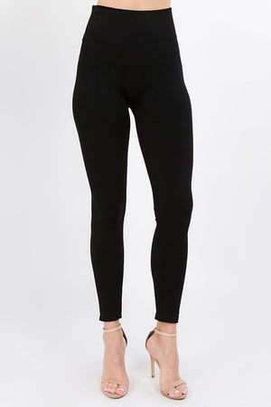 B4389 French Terry Double Knit High Waist Full Length Leggings