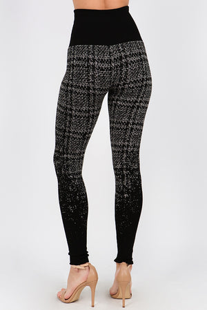 B4402 Ombre High Waist Cross Stitch Jacquard Sweater Legging