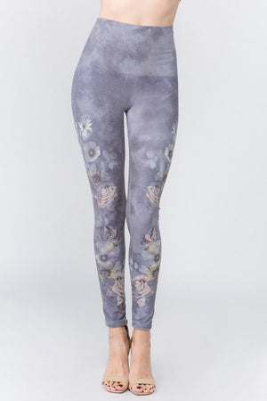 B4437G High Waist Full Length Shadowy Purple Floral Leggings