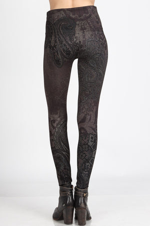 B4222XLJ Extended High Waist Full Length Legging w/Verona Print